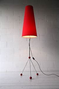 Large 1950s atomic floor lamp and shade cream and chrome for Large cream floor lamp