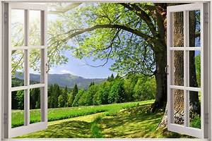 Huge 3D Window Beautiful Green Meadow View Wall Stickers ...
