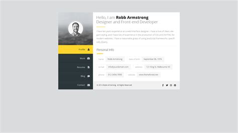 html profile template premium layers html vcard resume template by premiumlayers themeforest