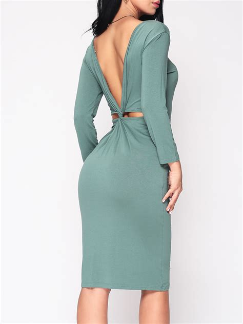 How To Cut Boat Neck Dress by Plain Backless Cut Out Modern Boat Neck Bodycon Dress Green