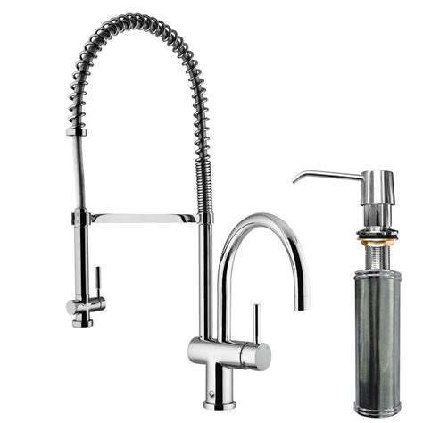 kitchen faucets with soap dispenser vigo single handle pull sprayer kitchen faucet with