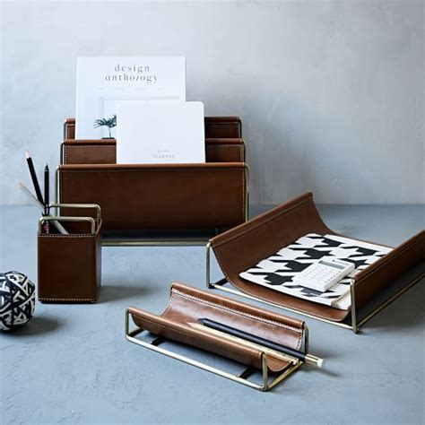 office desk accessories faux leather brass office accessories west elm