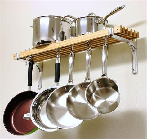 hanging wooden pot rack holder wall mount hooks pans pots