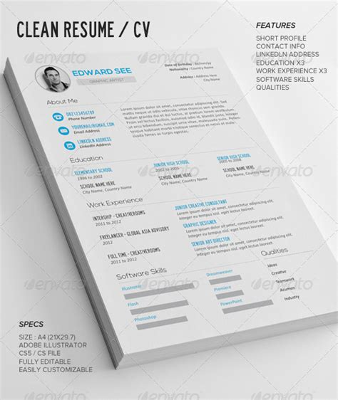 Designer Resume Template Ai by 155 Premium Cv Resume Templates In Indd Eps Psd Xdesigns