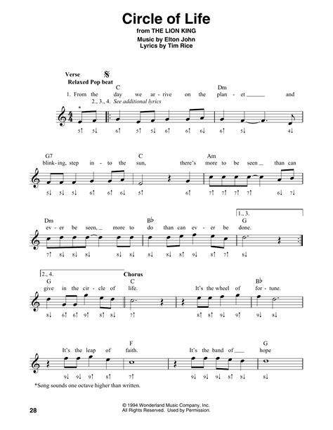 Piano man is the title of a song by soft rock musician billy joel. Circle Of Life Sheet Music   Elton John   Harmonica