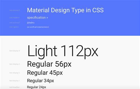 material design typeface in css