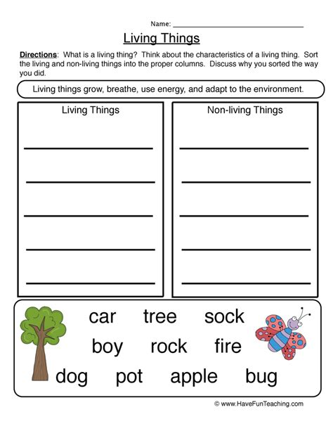 living and non living things worksheets teaching