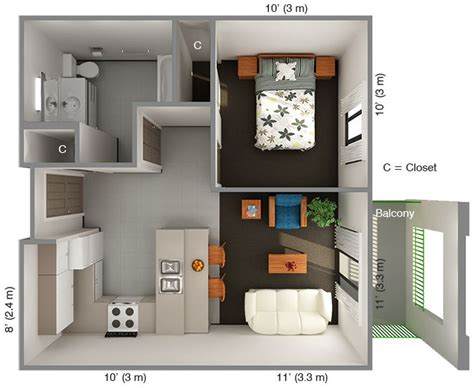 international house 1 bedroom floor plan top view