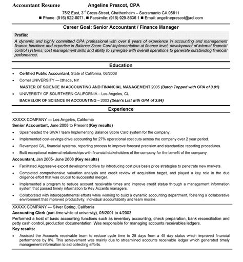 Cpa Resume by Senior Accountant Finance Manager Resume Accounting