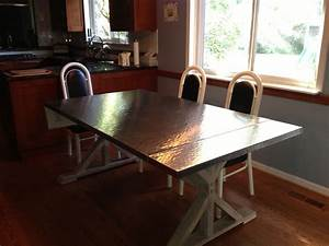 Handmade Custom Hammered Stainless Steel Dining Table by