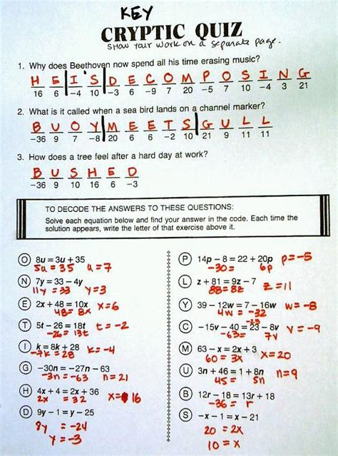 cryptic quiz worksheet answers worksheets  school pigmu