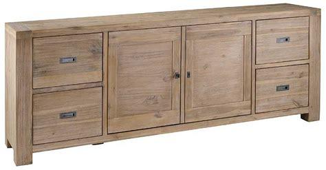 meuble bas chambre meuble bas 2 portes 4 tiroirs nevada en acacia 220x45x85cm