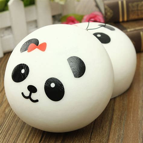 2pcs kawaii jumbo panda squishy buns cell phone bag pendant sale banggood