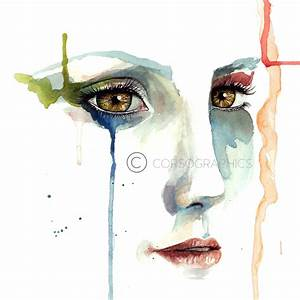 Watercolor painting of sad girl crying. painting by ...