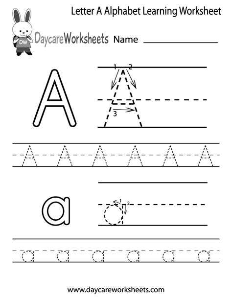 free letter a alphabet learning worksheet for preschool 386 | letter a alphabet learning worksheet printable