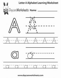 free letter a alphabet learning worksheet for preschool With preschool learning to write letters