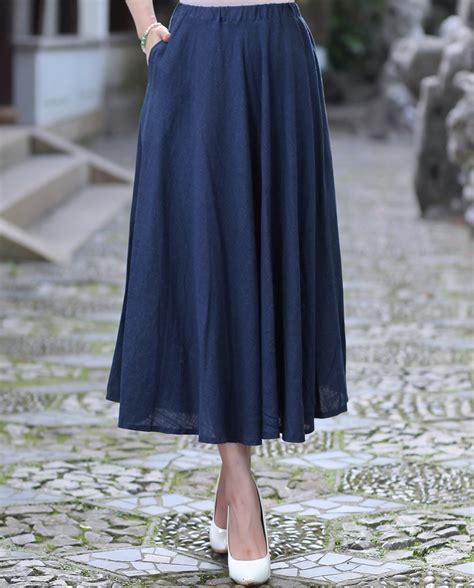 rok midi flare midi skirt summer casual cotton linen skirt