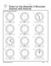 telling time   minutes worksheets
