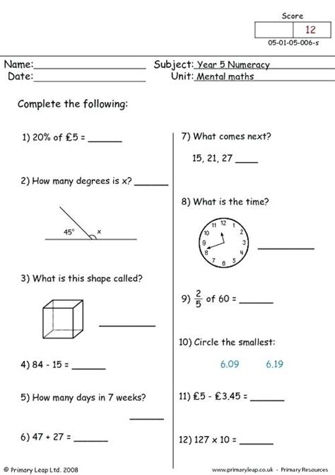 year five maths worksheets