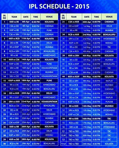 ipl 2015 schedule time table pdf on