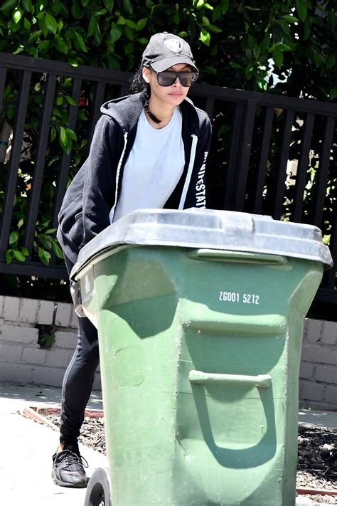 Naya Rivera in Tights – Steps out to grab her trash cans ...