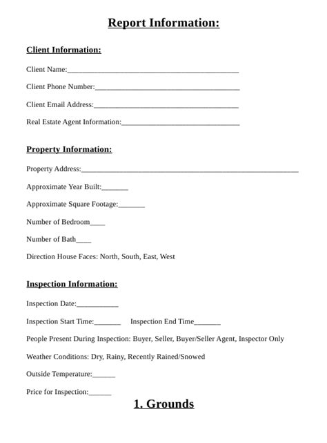 home inspection report form  printable