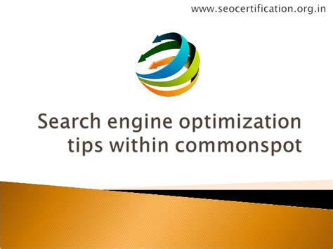 search engine optimisation strategies search engine optimization tips within commonspot