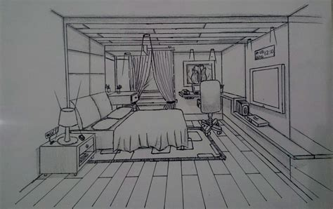 master bedroom interior sketch perspective lessons
