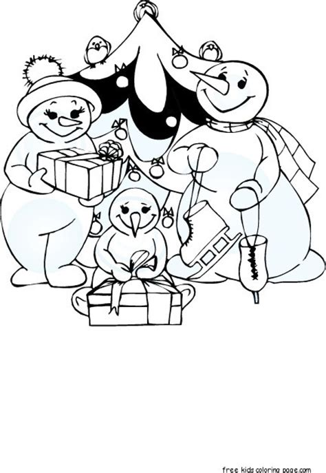 christmas carol clock snowman family coloring pagesfree