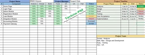 multiple project tracking excel template