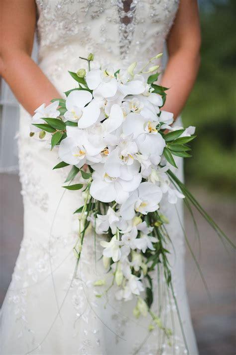 bridal wedding portait  white orchid cascading wedding