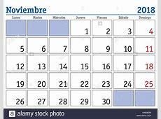 November month in a year 2018 wall calendar in spanish Noviembre Stock Vector Art