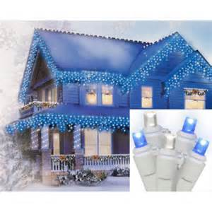 sienna set of 70 blue pure white led wide angle icicle christmas lights white wire