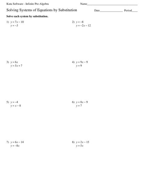 solving systems  equations algebraically worksheet