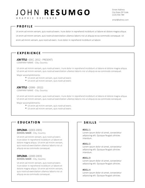 MILTIADES – Simple Resume Template with Framed Parts - ResumGO.com