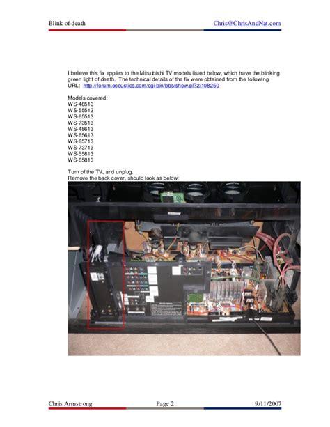 mitsubishi tv l light red mitsubishi tv blinking green light repair mouthtoears com