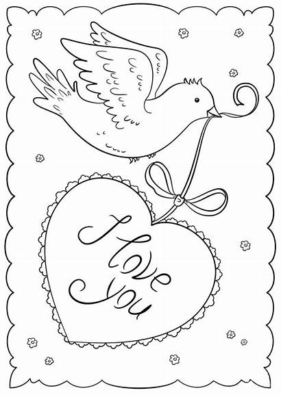 Cards Valentines Printable Coloring Pages