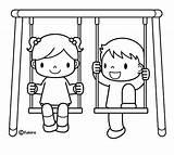 Swing Porch Coloring Pages Jugando Sketch Ninos Template Colorear Templates Para sketch template