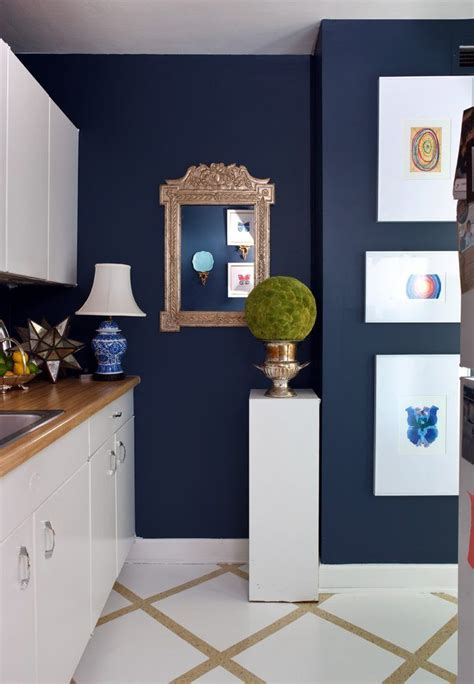 benjamin moore  navy kitchen eclectic  white stand