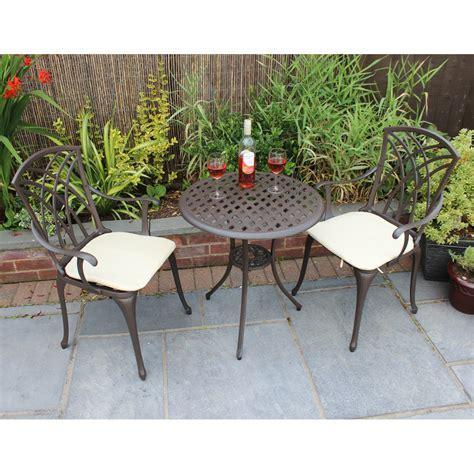 Garden Chair Set by Cast Aluminium Bistro Set With Cushions Savvysurf Co Uk