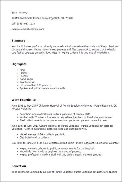 volunteer work on resume hospital volunteer resume exle professional hospital volunteer templates to showcase your