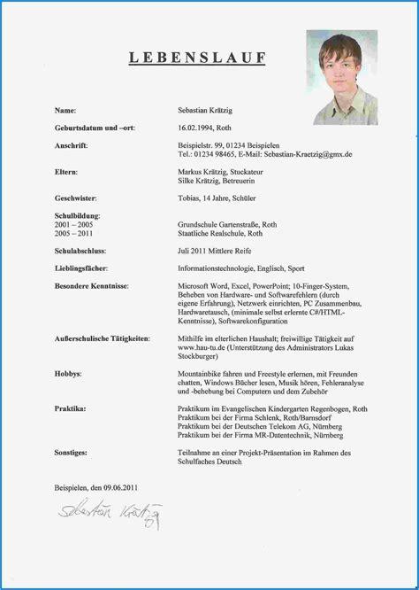 Tabellarischer Lebenslauf Kostenlos by 15 Tabellarischer Lebenslauf Sch 252 Ler Muster Kostenlos