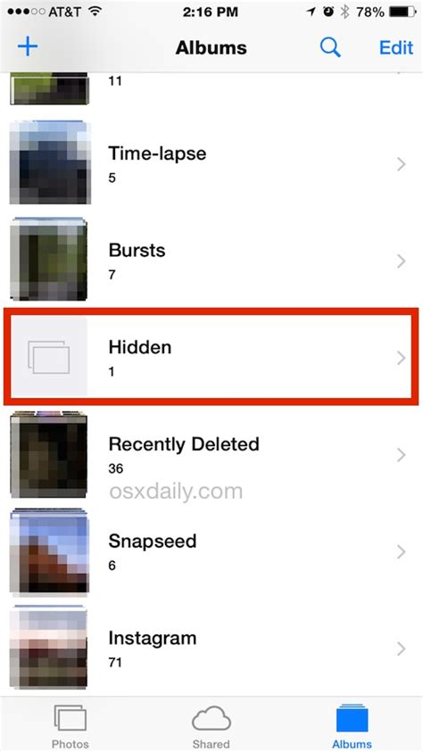 how to hide photos on iphone with the ios album