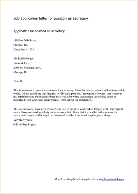 sample cover letter format  job application
