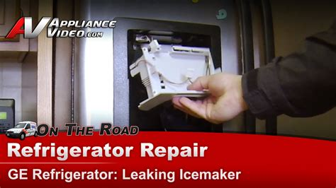 ge gslftfbs refrigerator diagnostic  repair icemaker dripping water  flapper ice