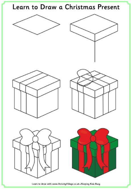 christmas pictures step by step learn to draw a present