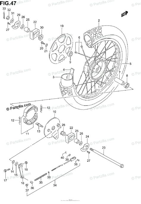 Suzuki Motorcycle Oem Parts Diagram For Rear Wheel