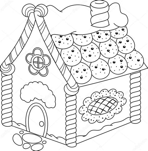 Gingerbread House Coloring Page Stock Vector © Malyaka