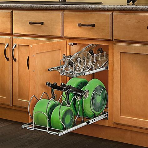 kitchen cabinet pan organizer rev a shelf 174 2 tier cookware organizer bed bath beyond 5647