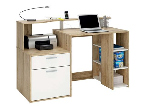 pc de bureau conforama bureau 1 porte 1 tiroir 3 niches oracle coloris blanc
